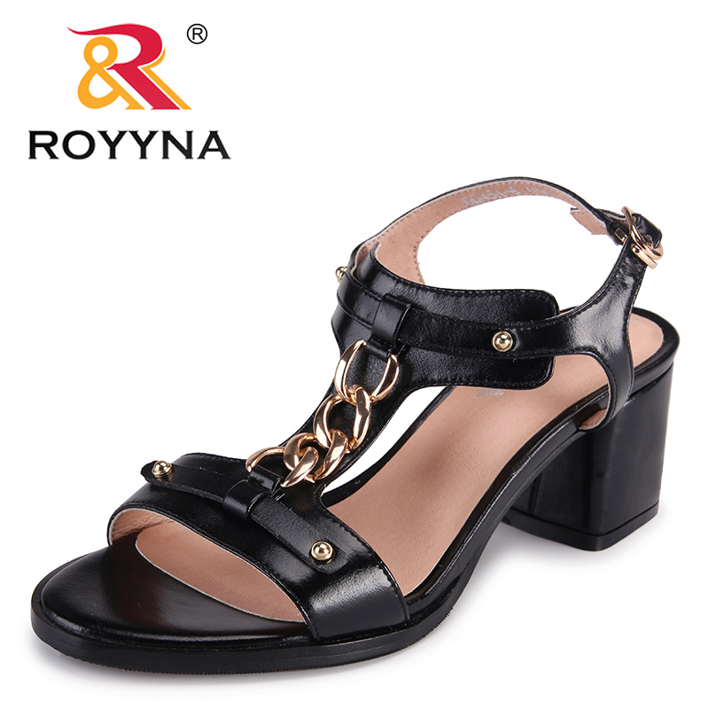 ROYYNA New Arrival Classics Style Women Sandals Golden Chain Femme Summer Shoes Square High Heels Lady Sandals Free Shipping royyna new sweet style women sandals cover heel summer gingham women shoes casual gladiator ladies shoes soft fast free shipping