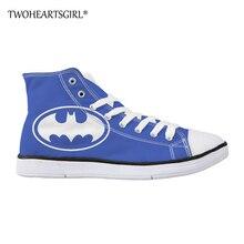 Twoheartsgirl Men's High Top Canvas Shoes Cute Cartoon Batman Print Male Vulcanized Shoes Classic Flats Shoes Ankle Canvas Shoes