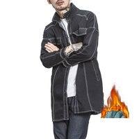 Hot Sale 2017 Fall Winter Male Plus Cashmere Fashion Denim Jacket Men's Retro Long Cowboy Winter Coat Plus Size M 5XL