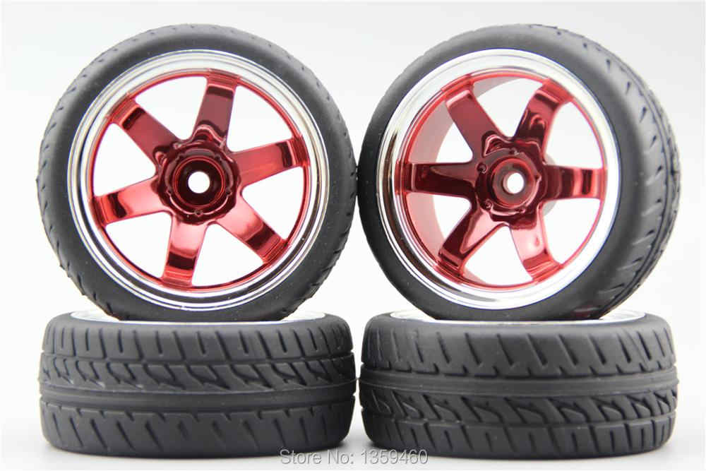 RC1:10 On Road Car 6 White Spoke Wheel Rims Flame Pattern Rubber Tyres Sets of 4