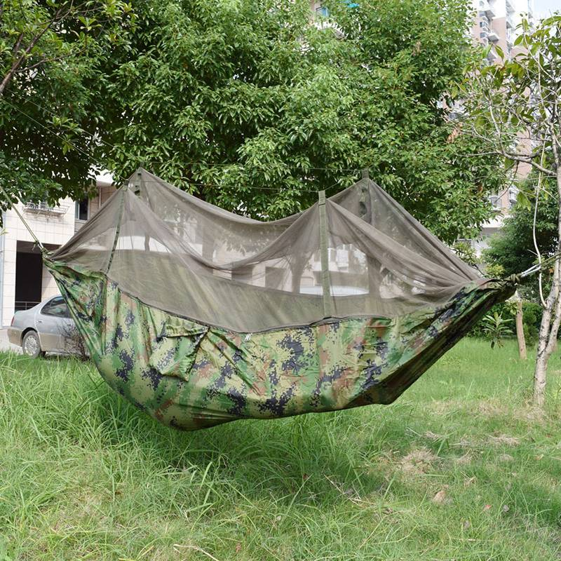 ФОТО Outdoor Hammock Tent Camo Parachute Fabric Mosquito Net Folding Hanging Bed Swing Cot Durable Camping Hammock Sleeping Bag