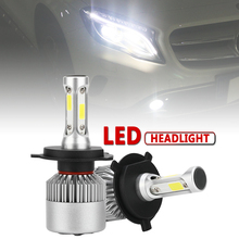 цена на 2pcs H4 HB2 9003 S2 72W 8000LM 6000K White LED Auto Car Headlight Bulbs High Low Beam Head Lamp for Cars Vehicles