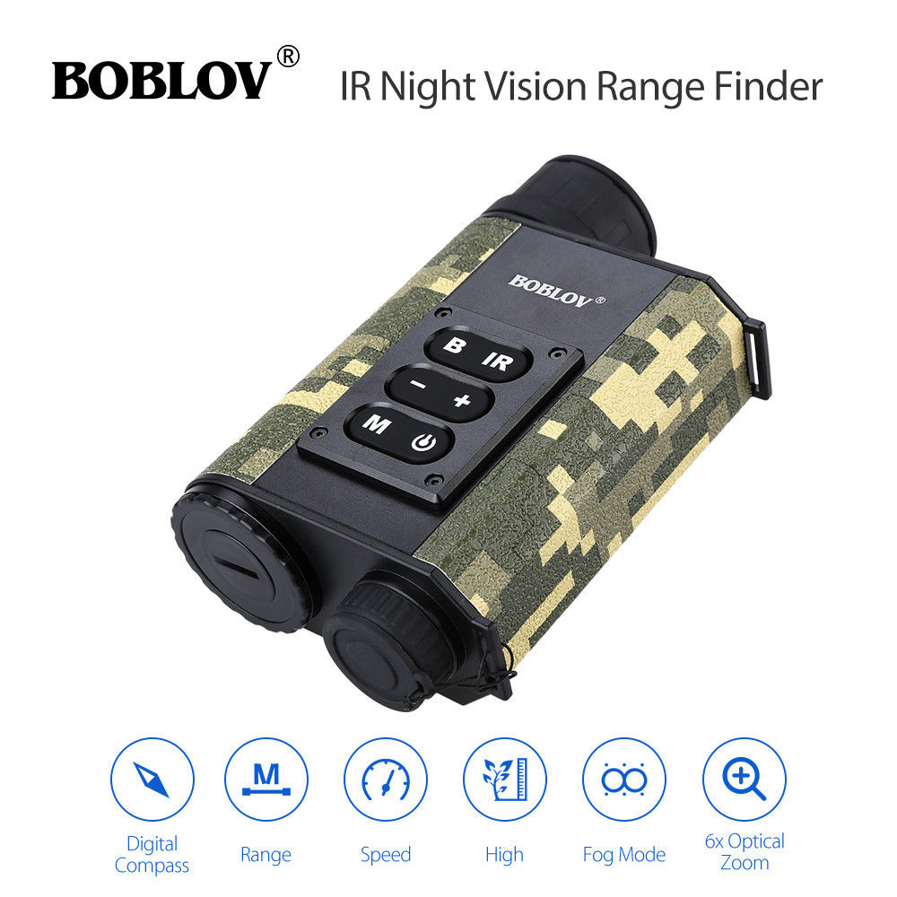 BOBLOV LRNV009 6X32 500M Ranging Finder IR Night Vision Multifuctional Monocular Telescope Compass Camouflage Hunting Outdoor телескопы бинокли srate 6x24mm 500m finder