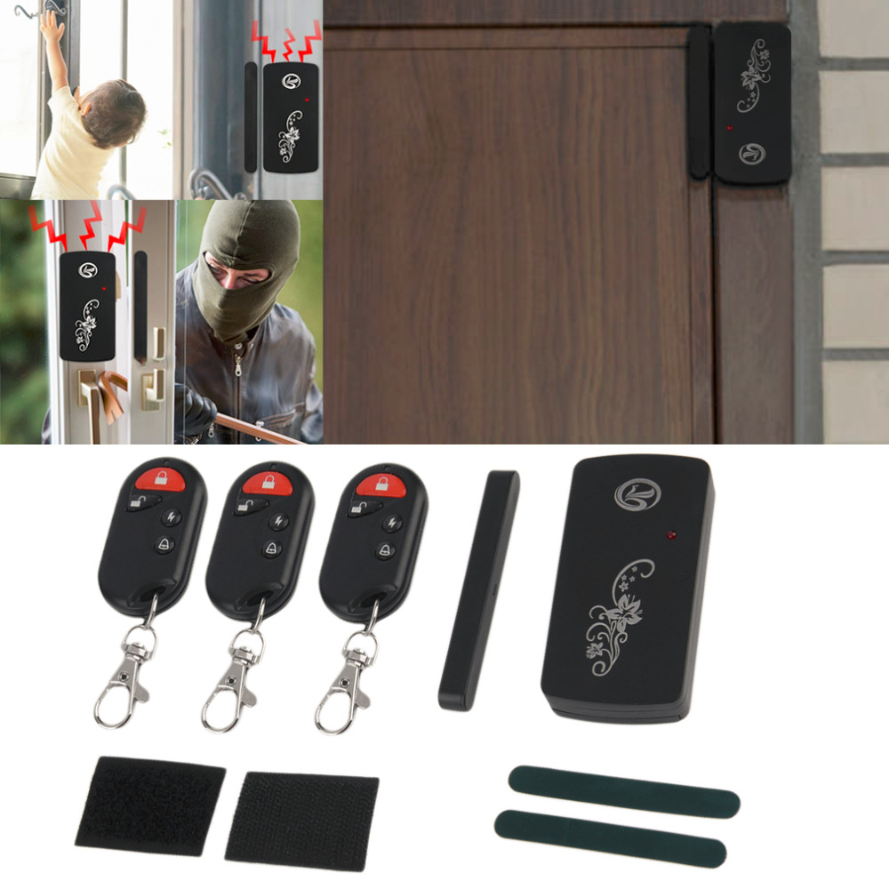 LESHP Smart Magnetic Sensor Remote Control Wireless Door Window Voice Alarm Home House Entry Burglar Security System 110db Black high quality hot sale 100db wireless alarm system burglar safely security window door home magnetic sensor best promotion