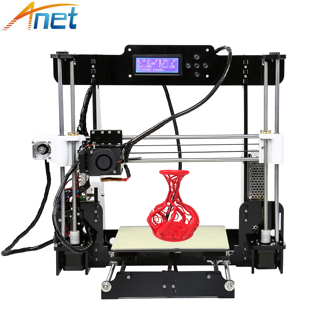 Hot Anet Normal&autolevel A8 A6 E10 E12 3D Printer High Precision Reprap Prusa i3 3d Printer DIY Assemble with PLA 10M Filament