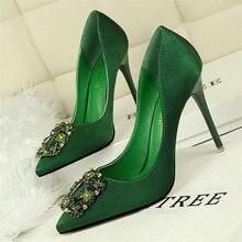 цены New women's shoes fashion sexy nightclub slim stiletto high heel shallow mouth pointed satin rhinestone single shoes women's