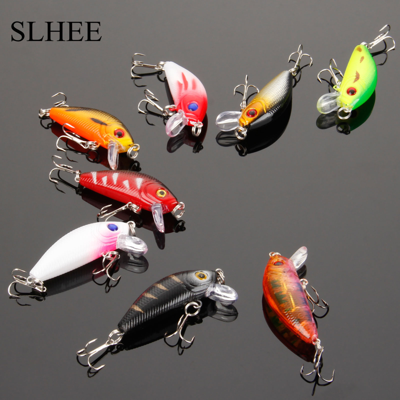 SLHEE 2017 8Pcs Fish Minnow Bass Lure Crankbait Trout Tackle Hook 3.6g 5cm Carp Artificial Bait Fishing Lures Wobbler 8 Colors 3pcs lot fishing lures mixed set minnow crankbaits topwater popper hook lure spinner baits crankbait bass wobbler tackle hook