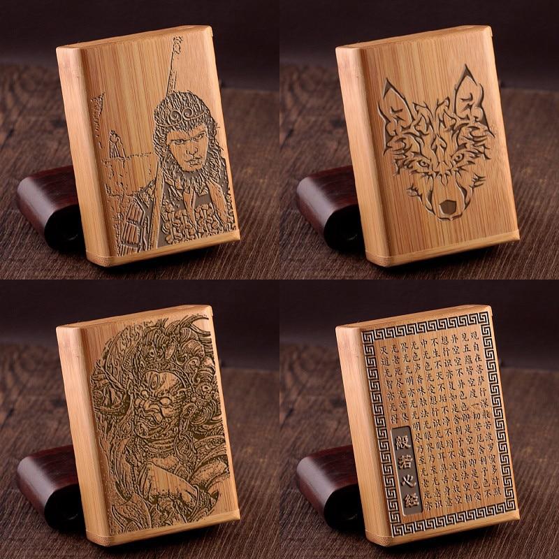Creative Natural Eco-friendly Handmade Bamboo Wood Whole Package Cigarette Box Engraving Word Gift Retro Smoking Set Storage Box