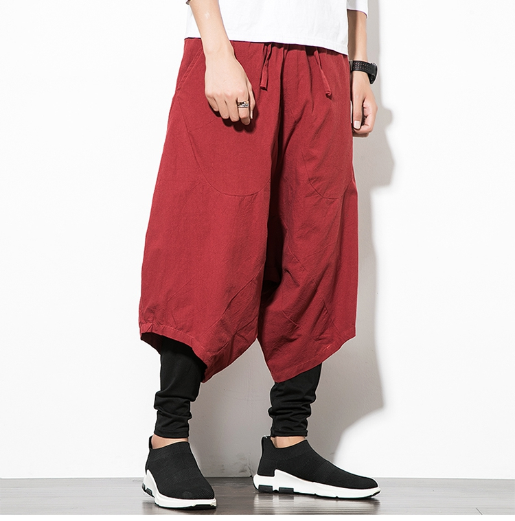 MRDONOO Men Pants Men's Wide Crotch Harem Pants Loose Large Cropped Trousers Wide-legged Bloomers Chinese Style Flaxen Baggy 119