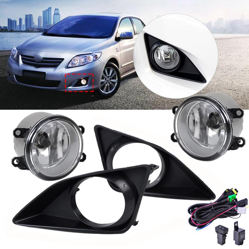 For Toyota Corolla 2009-2010 Clear Lens Fog Lights Lamps Grille Cover + Wire Harness SwitchFor Toyota Corolla 2009-2010 Clear Lens Fog Lights Lamps Grille Cover + Wire Harness Switch