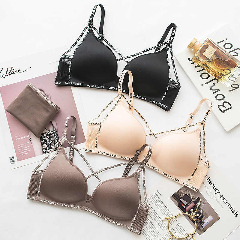 b5dcfaaf25 Wasteheart Women Fashion Sexy Lingerie Letter Printed Bralette Cotton  Panties Cross Straps Wireless Bra Sets Underwear
