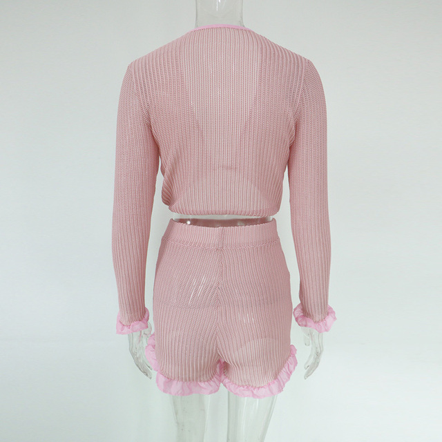 Beyprern Cute Ruffled Mesh Trim Pink Shorts Set Two Piece Women Boho Chiffon Crop Top And High Waist Booty Shorts Set Streetwear 6