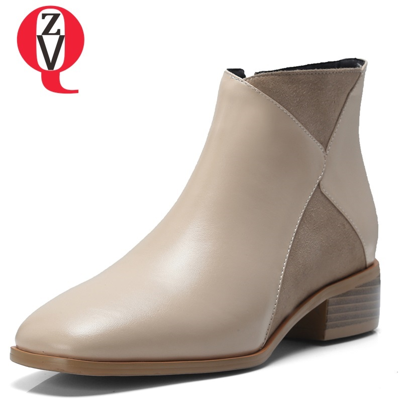 ZVQ 2018 winter new concise casual square toe zipper med square heel genuine leather women shoes outside comfortable ankle boots zvq 2018 winter hot sale new fashion square toe zipper high square heel genuine leather women ankle boots outside warm shoes