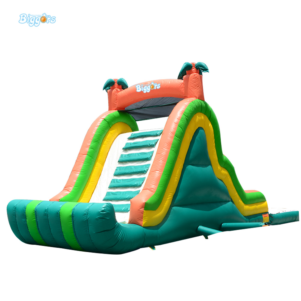 Inflatable Biggors Green Color Inflatable Slide With Free Blower For Sale inflatable biggors combo slide and pool outdoor inflatable pool slide for kids playing