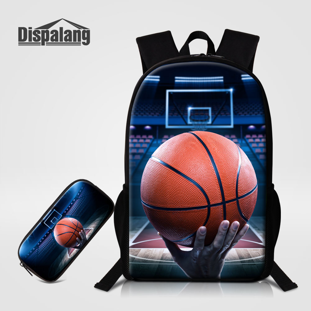Dispalang 2PCS/Set Backpack Pencil Case For Primary Students Unique Design Basketballs Printing School Bag For Boys Male Mochila