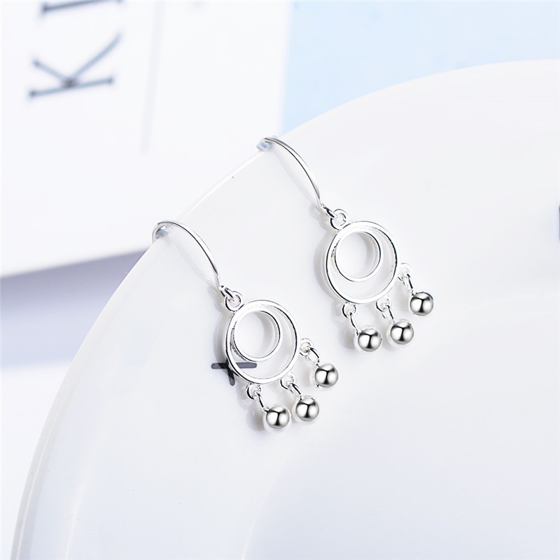 Everoyal Top Quality Silver 925 Drop Earrings For Women Accessories Vintage Round Bell Long Tassel Earrings Girls Jewelry in Drop Earrings from Jewelry Accessories