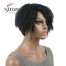 Strong beauty perruque Bob asymétrique courte, perruque synthétique complète, noire, ondulée, duveteuse