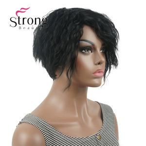 Image 1 - Strong beauty perruque Bob asymétrique courte, perruque synthétique complète, noire, ondulée, duveteuse