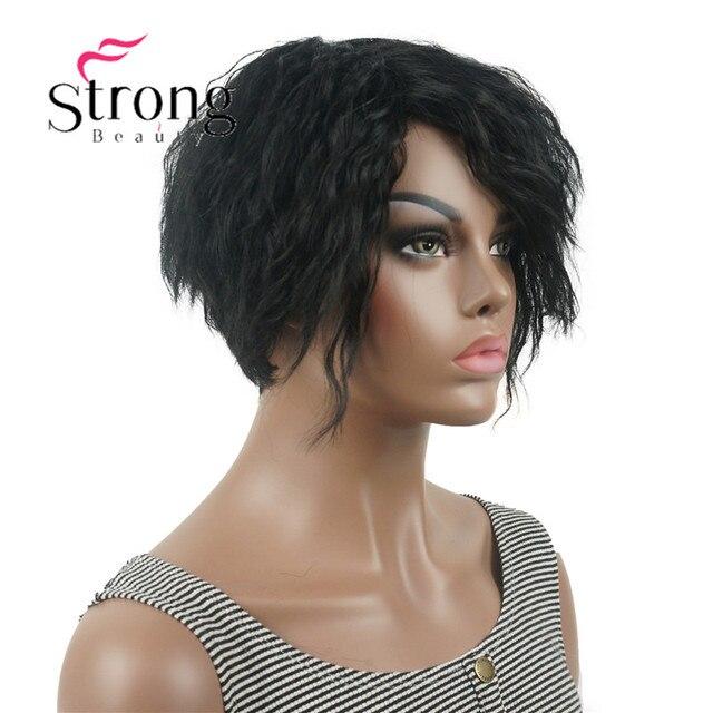 StrongBeauty короткий асинетический Боб черный пушистый волнистый полный синтетический парик