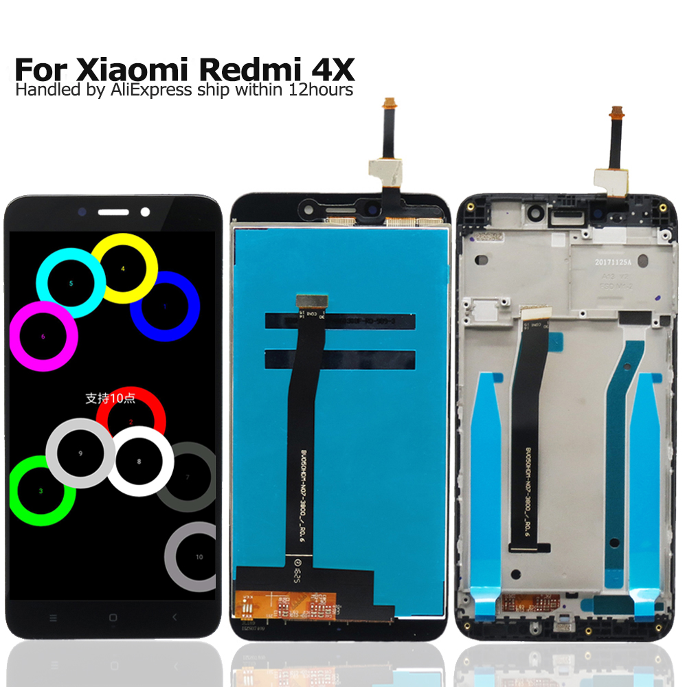 Asamblea LCD con el Marco para Xiaomi Redmi 4X LCD Display + Touch Screen Reemplazo Digitalizador Asamblea
