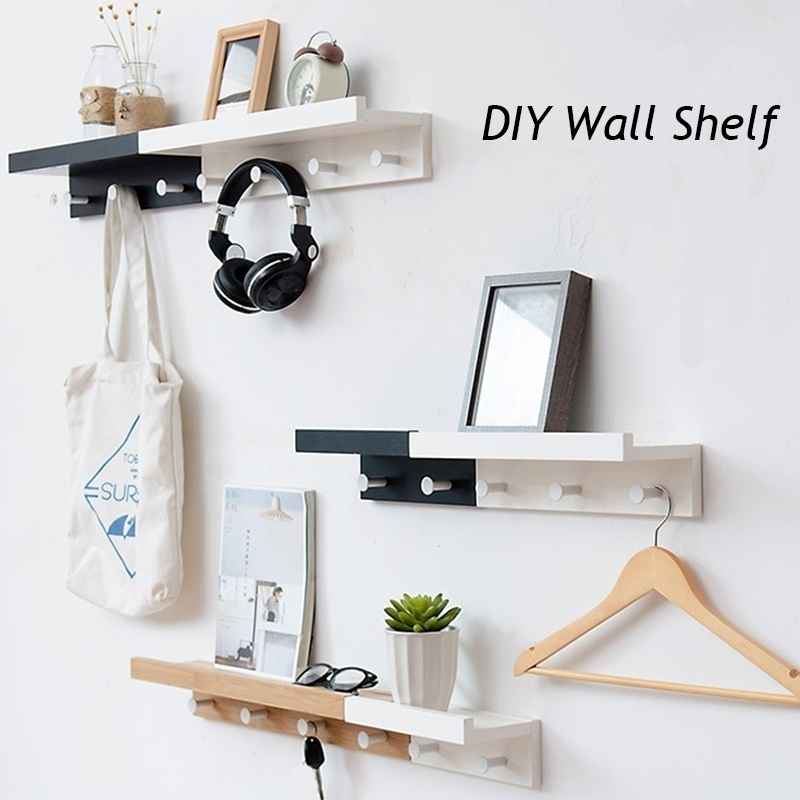 Wall-Mounted Coat Hook Bamboo Wooden Coat Rack With Metal Hooks And Upper Shelf For Storage Scandinavian Style For Hallway