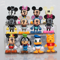 1set(12pcs) 8~10cm Mickey Minnie Donald Duck Cartoon Action Figure Kids Toys Mickey Action Figure