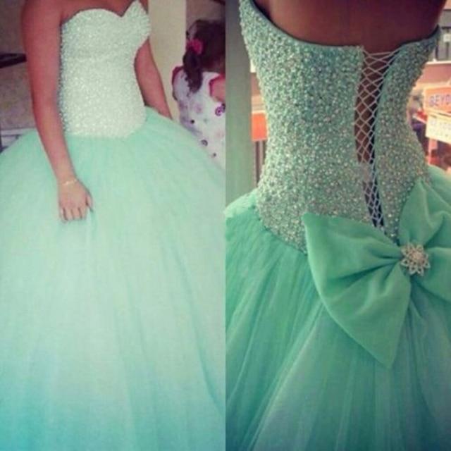 b1816da8a5 Vestidos de 15 anos Verde Menta Quinceañera Vestidos de Tul Falda  Totalmente Cristales y Perlas de