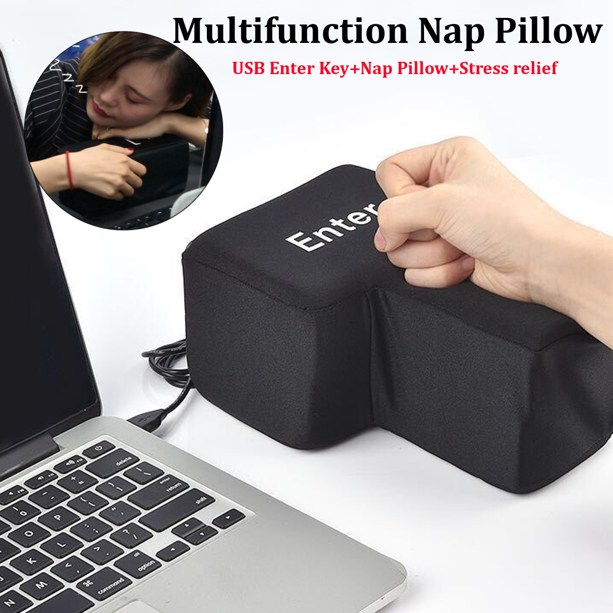 USB Enter Key Vent Pillow Soft Computer Button Return Key Offices Decompression Supersized Pillow Stress Relief Toy 140x200 Mm