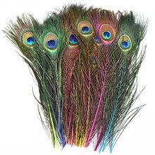 10 шт./лот, Окрашенные Перья павлина для рукоделия, длина 25-30 см, 10-12 дюймов, перо павлина, самодельные Украшения, декоративные перья фазана