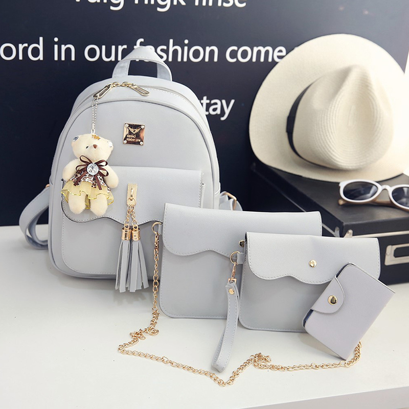New 4PS/Set PU Leather Mini Backpack Women Travel Portable Softback Bag Girl School Bags Womens Cute Small Bear Backpacks