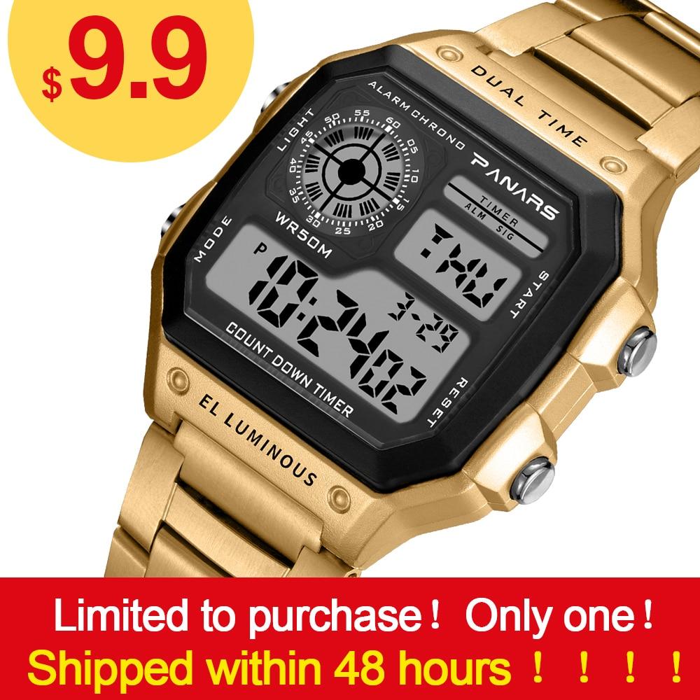 074953342d70 Comprar Reloj digital de acero para hombre acuático 50 relojes de oro  resistentes al agua reloj de pulsera led reloj táctico militar reloj de  pulsera para ...