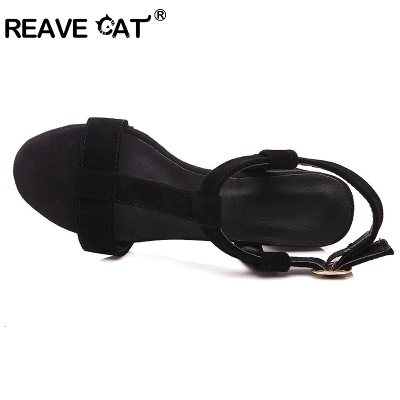 cf2c46125a1ae5 REAVE CAT Latest Female Mid heels sandals Women s shoes Summer Big size 34  46 Causal Metal Back strap Black White Thick heels-in High Heels from Shoes  on ...