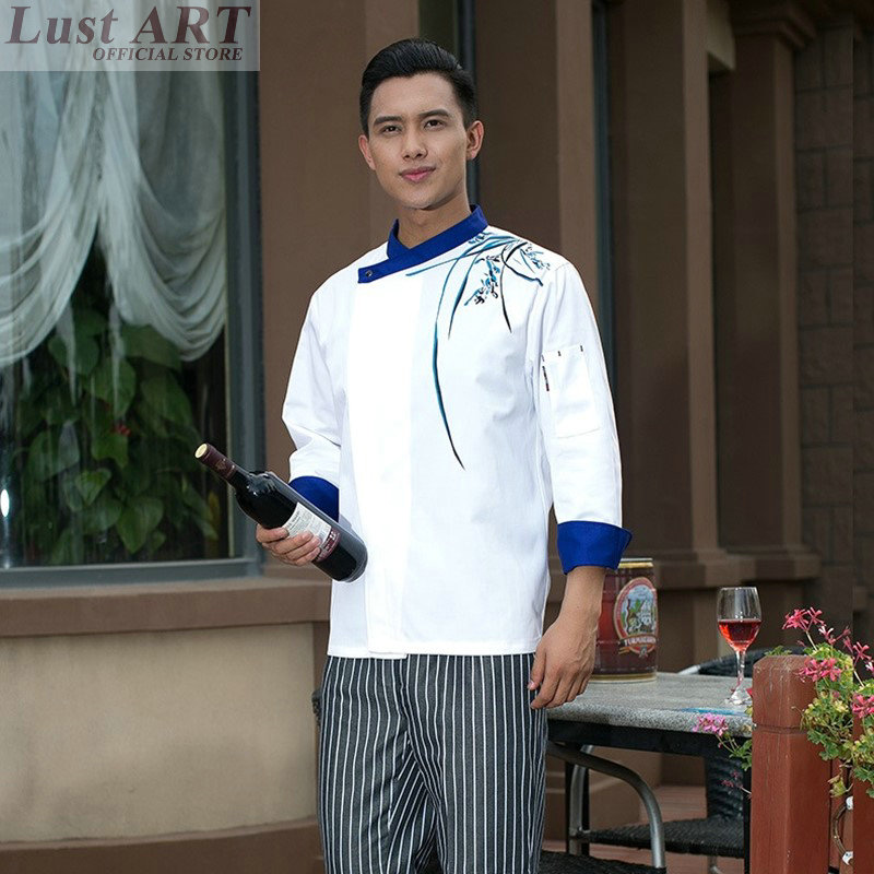 Chef jacket white chinese style elegant cook uniform hotel restaurant cook clothes kitchen food service chefs clothing AA018