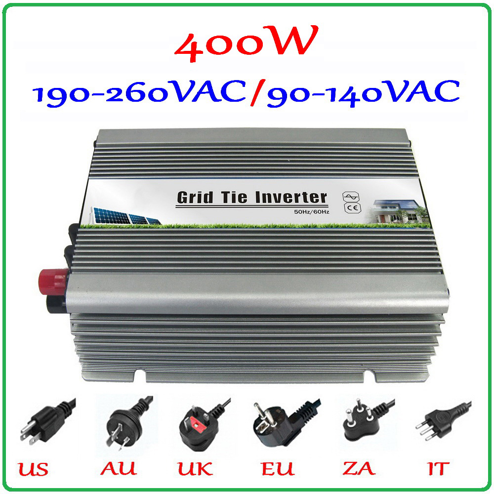 Free shipping! On Grid Inverter 400w Grid Tied Inverter, DC22~60V to AC90-140V or 190-260V power inverter 400W, 2-year warranty