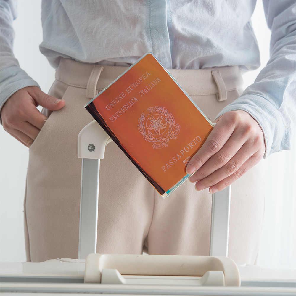 Модная Лазерная блестка ПВХ Обложка для паспорта для женщин органайзер для хранения карт Футляр Бизнес кредитный кошелек Аксессуары для путешествий