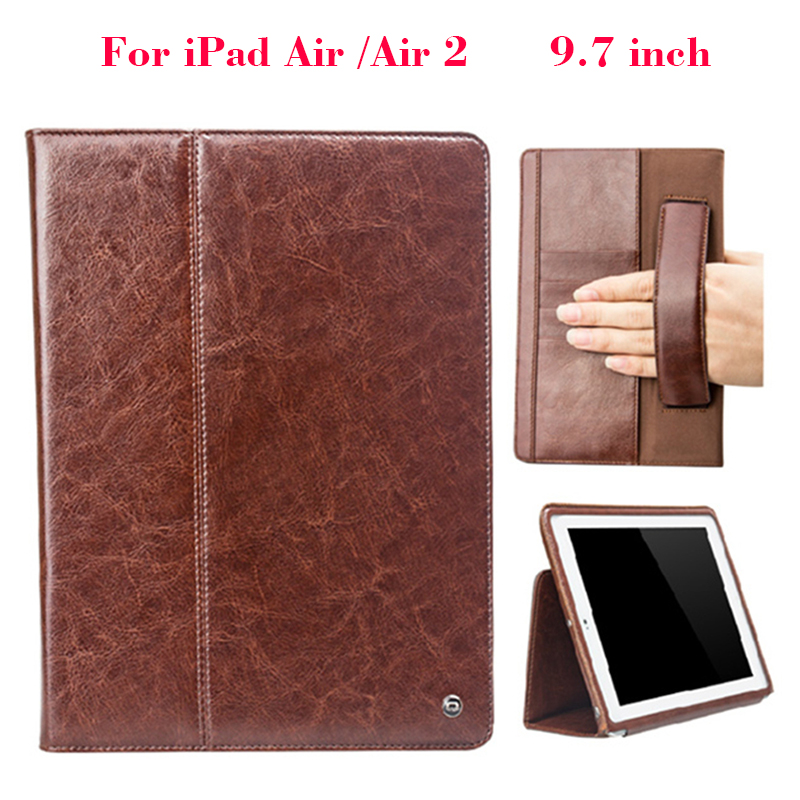 Real Genuine Leather Case For iPad Air Air1 9.7 inch classical Wallet case Cover Shell For Apple iPad 5/Air Protective Stand