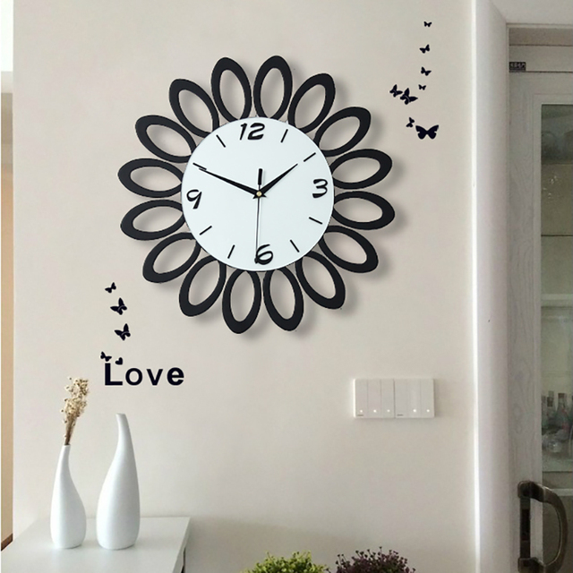 Geekcook 40X40 CM Modern Pastoral European Wall Clock Living Room Fashion  Creative Simple Hanging Clock Bedroom