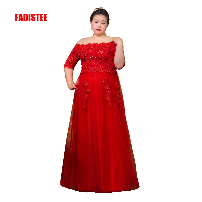 FADISTEE New arrival elegant long   dress   prom party   dresses   formal   dress   lace half sleeves simple red   evening     dress