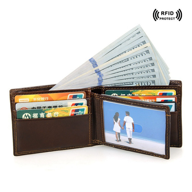 finest selection 6c61c c2d5a US $20.89 |Rfid Blocking Leather Credit Card Holder Mens Wallet Dollar  Price Brown Safe Wallets Top id Card Protector Travel Small Wallet-in Card  & ID ...