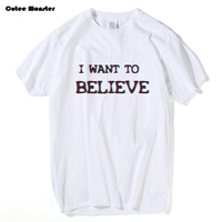 2017 X Files T Shirt Mens I WANT TO BELIEVE Letter T Shirts Summer Skateboard Tee