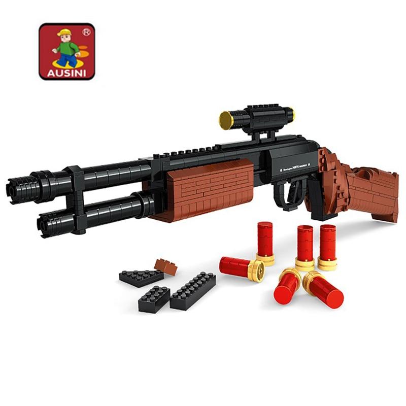 Ausini 527pcs Gun Model Assembled Toy Gun M870 Shotgun Building Blocks Gun Weapon Children Educational Military toys Gift цена