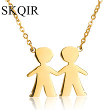SKQIR Gold Double Boys Figure Best Friends Pendant Necklaces Stainless Steel Jewelry Women Chain Custom Necklace Aliexpress