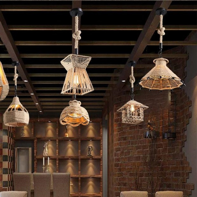 Hemp Rope Twine Retro Antique E26 / E27 Base Pendant Light Fixtures MS - 17