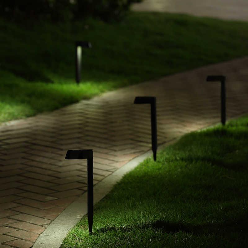 Коричневый корпус Солнечный уличная газонная лампа Сад Путь солнечный свет для газона световой столб Солнечный светящиеся палки белый свет 3 шт./лот