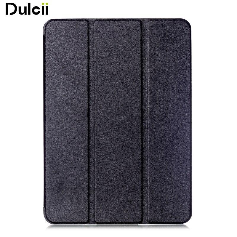 Dulcii Tri-fold Astuta Del Basamento Custodia In Pelle per Samsung Galaxy Tab S2 9.7 T810 T815 Lychee Texture-Nero