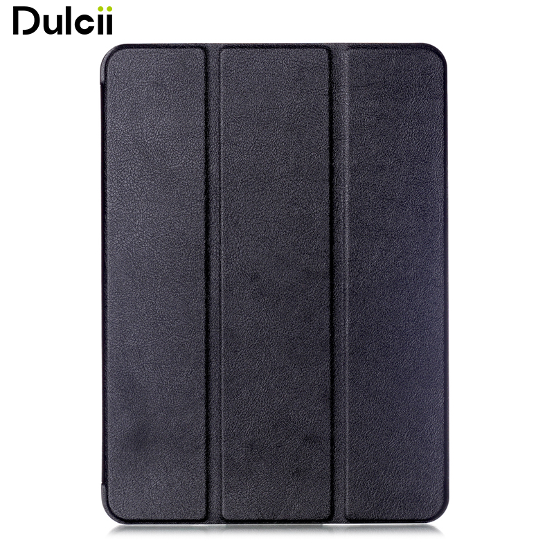 Dulcii Tri-fold Stand Smart Leather Case for Samsung Galaxy Tab S2 9.7 T810 T815 Lychee Texture - Black