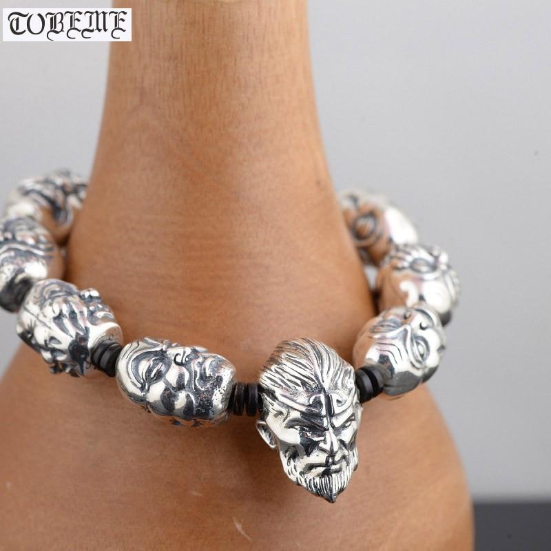 Handcrafted 925 Silver Buddhist Eighteen Arhats Beads Bracelet Tibetan Rohan Beads Bracelet Monkey King Beaded Man Bracelet