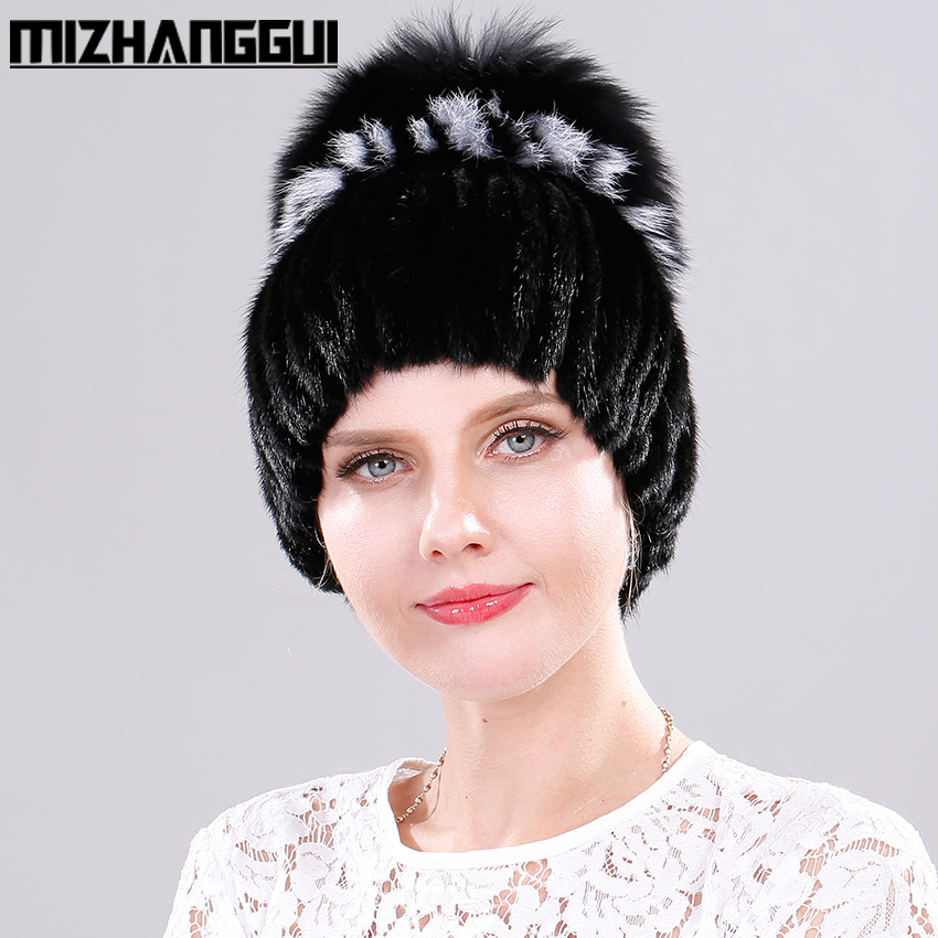 Women's Knitted Hats Real Mink Fur Beanies Hat with Fox Fur Pom Pom Bonnet Femme Winter Cap Russian Fur Mink Hats for Women hat sale women children real mink knited fur hat fox fur pom pom top hats winter warm thick knitted mink fur baby beanies cap
