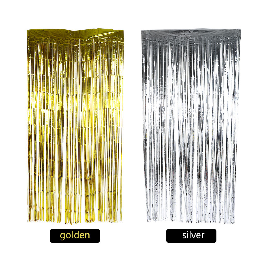 Wedding Holiday Party Metallic Fringe Shimmer Foil Curtain Doorway ...