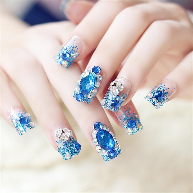 24 buc Cute Dream Blue Glitter Fals Cuie Manichiură Pătrat Albastru - Manichiură